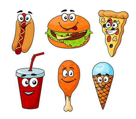 fried potatoes: Colorful cartoon fast food icons with a hotdog, cheeseburger, pizza, soda, chicken wing and ice cream cone, isolated on white