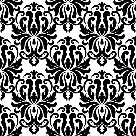 Seamless bold black colored floral arabesque pattern in damask style motifs suitable for wallpaper, tiles and fabric design isolated over white colored background Vector
