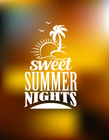 Sweet Summer Nights poster or banner design on a muted soft brown and gold background with the text in white with a palm tree, seagulls and sun over waves Illustration