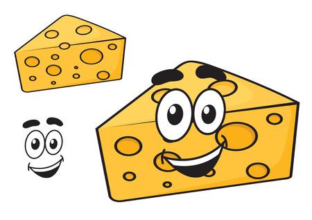 queso rallado: Sonriendo feliz cuña de dibujos animados de queso con agujeros y una sonrisa linda, aislados en blanco, para el diseño de la comida