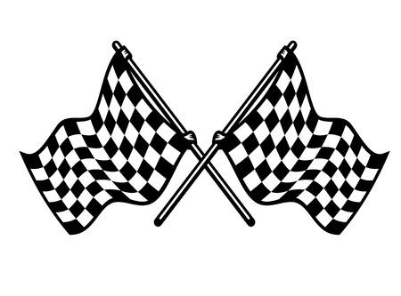 Deux drapeaux croisés damier noir et blanc ondulant dans le vent conceptuel du sport automobile, isolé sur blanc