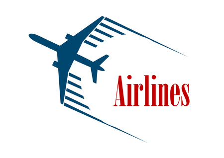 jetliner: Airlines emblem or icon with a speeding blue jetliner airplane with motion trails above the word - Airlines - in red