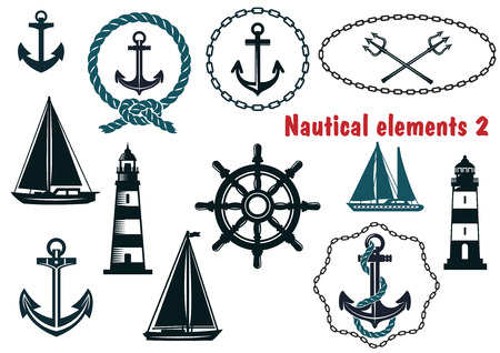 Set of nautical heraldry themed design elements with assorted anchors, crossed tridents, sailboat, yacht, two lighthouses, ships wheel, schooner, rope and chain frames