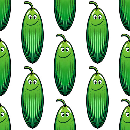 gherkin: Cute little smiling green cartoon cucumber in a seamless pattern in square format suitable for wallpaper design Illustration