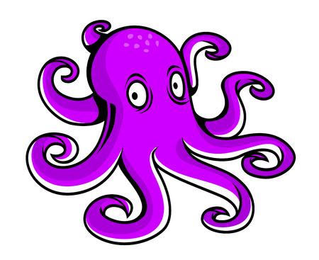 Bright pulpo de la historieta púrpura con grandes ojos mirando a los tentáculos del espectador y de curling aisladas en blanco