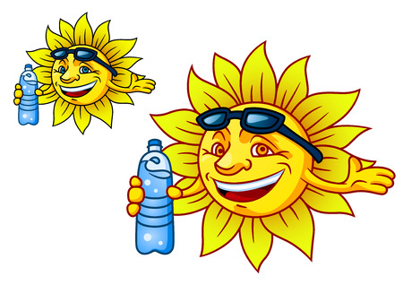 hot water bottle: Fun illustration of a laughing tropical sun with bottled water and sunglasses