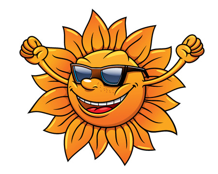 Cute cartoon fun loving tropical sun in sunglasses smiling, cheering and waving its arms, isolated on white