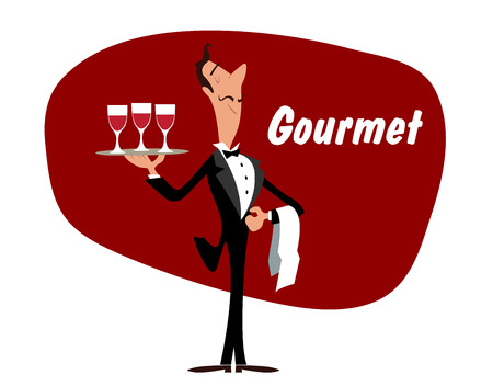 butler: Elegant wine steward or waiter holding a tray with glasses of red wine and the word - Gourmet