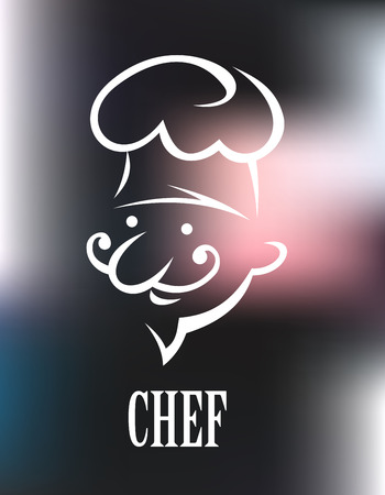 Cook icon on a shiny metallic surface with a white doodle sketch of a bearded chef in a toque above the word - Chef Illustration