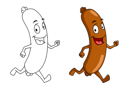 Running cartoon sausage with color and outline versions for fast food design Vector