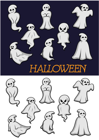 poltergeist: Different cartoon Halloween ghosts in flowing robes on a white and dark background in different poses with different expressions