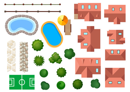 Landscape, garden and architectural elements with houses, swimming pools, treetops, bushes, steps and borders isolated on white Ilustração