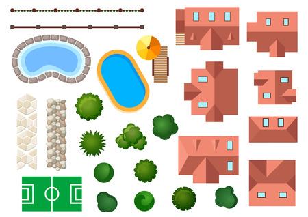 tuinontwerp: Landschap, tuin en architectonische elementen met huizen, zwembaden, boomtoppen, struiken, trappen en grenzen geïsoleerd op wit