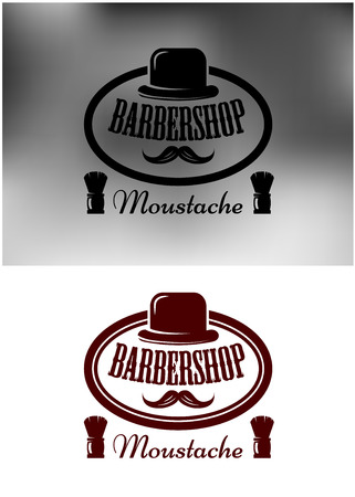 Classy Barber Shop icon, emblem or label with an oval frame with a vintage bowler hat and moustache and the words Barber Shop with Moustache below with shaving brushes Vector
