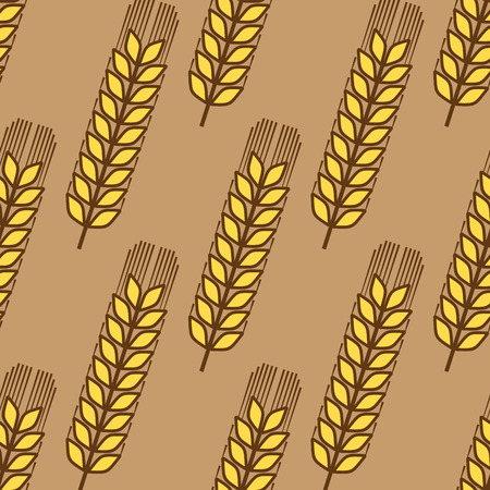 millet: Seamless pattern of ripe golden wheat ears in a repeat motif in square format for agriculture industry design Illustration