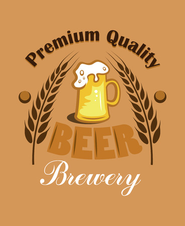 Premium Quality Beer - Brewery label with two ears of wheat or hops flanking an overflowing mug of golden lager with a frothy head on a brown background Vector