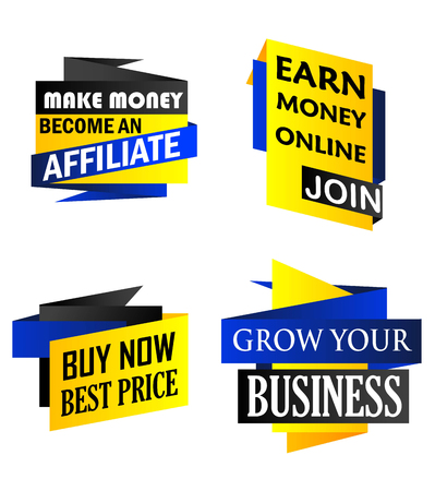 grow money: Set of origami labels depicting money making, earn money, buy now and a grow your business in yellow and blue isolated over white background Illustration