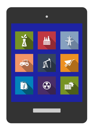 electricity pylon: Set of flat industrial icons of oil, factory, electricity pylon, tractor, mining, drilling, wheelbarrow, crude oil, radioactivity and solar panel on a tablet screen Illustration