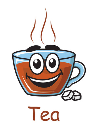 brown sugar: Happy and joyful funny cartoon of brown hot tea with blue cup container and two sugar cubes text Tea written below the tea cup