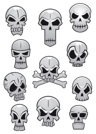 Human skulls set for Halloween holiday design isolated on white background Vector