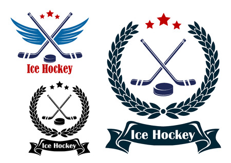 professional sport: Ice Hockey sports emblems or badges with crossed sticks and a puck, one winged and two enclosed in a laurel wreath with ribbon banner