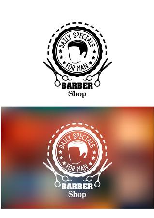 barber pole: Barber shop emblem or sign in a round frame enclosing a mans head and the words - Daily specials - For man - with scissors below and -Barber Shop, on white and a blurred color variant Illustration