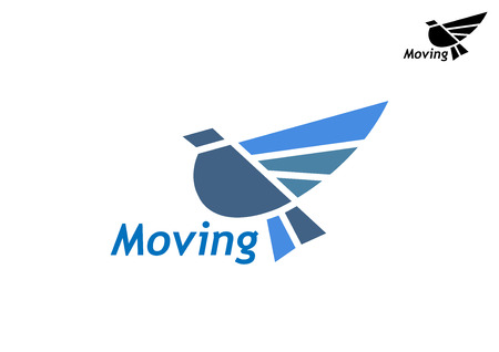 Blue pigeon as a stylized bird with raised wings perched on the text - Moving - in two color variants