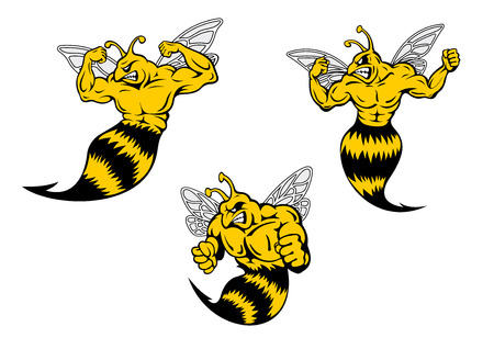 Angry yellow and black cartoon wasp or hornets with a sting shaking his fist and baring his teeth, cartoon illustration on white Illustration