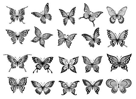 Conjunto de veinte mariposas en blanco y negro adornado de vuelo con las alas abiertas para su uso como elementos de diseño