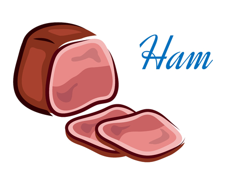 glazed: Pieces of fresh red ham with text isolated over white background in horizontal format for healthy diet design Illustration