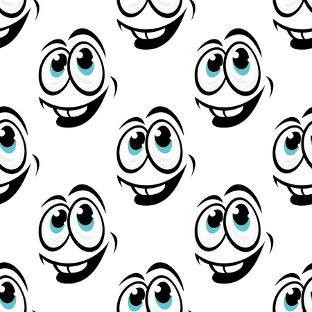Seamless background pattern of cartoon happy funny face with big smile for comics design isolated on white background