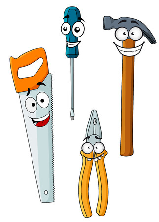 Happy and joyful faces of different work tools as hammer, pliers, screwdriver and saw isolated on white background Ilustracja