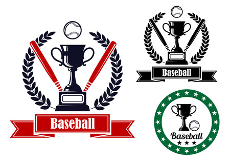 bal: Three baseball badges or emblems, two with bats, a bal and a trophy in a wreath and ribbon banner with text, one in a circular frame and no bats