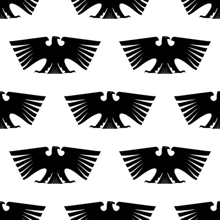 condor: Seamless pattern of black silhouetted imperial eagle with long wing feathers and tail isolated on white for heraldic design