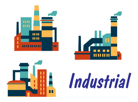 polluting: Three flat industrial icons showing factories, plants or refineries with smokestacks or chimneys with polluting smoke and the word - Industrial, isolated on white background Illustration