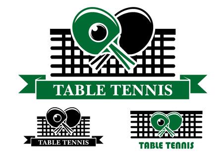 tischtennis: Drei Tischtennis Embleme und Symbole mit gekreuzten Schl�gern �ber ein Netz und Text, zwei in Band-Banner und eine Ebene f�r sportliche Design
