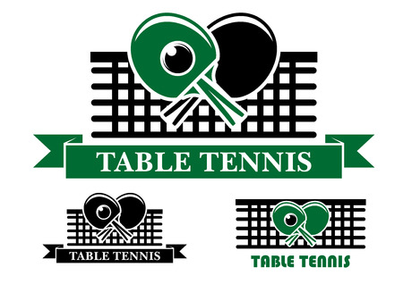 Three Table Tennis emblems and symbols with crossed bats over a net and text below, two in ribbon banners and one plain for sporting design Vector