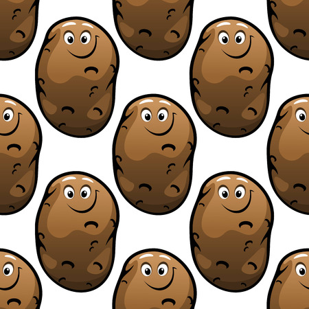 starch: Seamless pattern of brown funny comic farm fresh potatoes for a healthy vegetarian diet isolated on white background