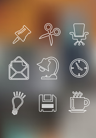 Set of flat office icons including a thumb tack, scissors, chair, mail, lamp, clock, light bulb, floppy disk and a cup of tea for web design Vector