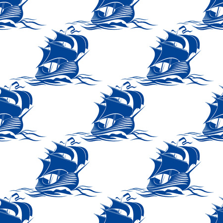 cruising: Seamless pattern di sfondo di una nave a vela completa attrezzata con vele fluttuanti crociera attraverso le onde di nautica blu con un motivo a ripetizione Vettoriali