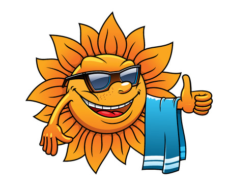 Happy tropical sun on a beach vacation with a towel over its arm, wearing sunglasses and giving a thumbs up of approval, cartoon illustration on white Vettoriali