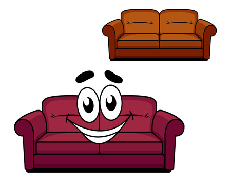 upholstered: Happy and joyful cartoon of maroon upholstered couch of sofa with big smiley face and second brown upholstered couch without face isolated on white background