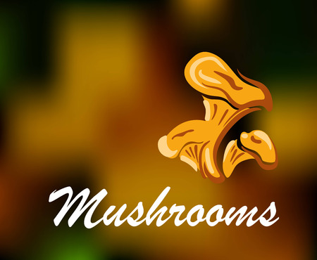 food industry: Brown and golden colored mushrooms with text for food or environment industry