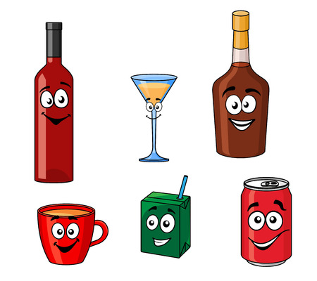 Cartoon with smiling and joyful faces of assorted beverages or drinks including red wine bottle, martini glass, whiskey bottle, cup of tea, juice carton, soft drink can isolated on white background Vector