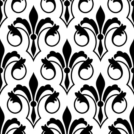 lys: Fleur de Lys seamless bakground pattern with ornate motifs with a stylized scrolling elegant foliate pattern in a black and white vector illusration with repeat motif Illustration