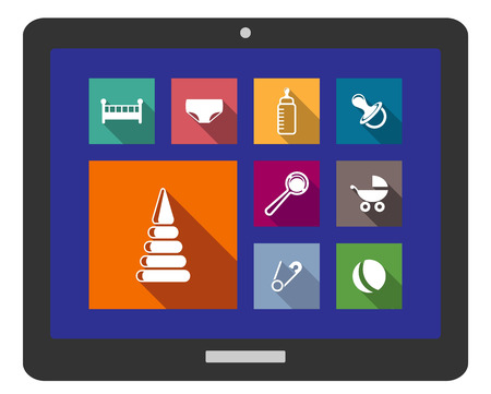 babys: Set of assorted flat baby icons with a cot, nappy, bottle, pacifier, dummy, rattle, pram, safety pin and ball on a digital tablet
