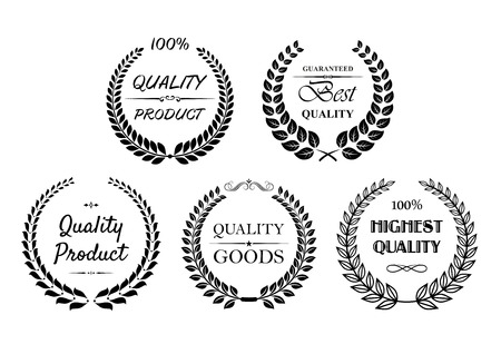 highest: Set of quality wreaths in black and white for retail industry with Quality product, best quality, highest quality and quality goods