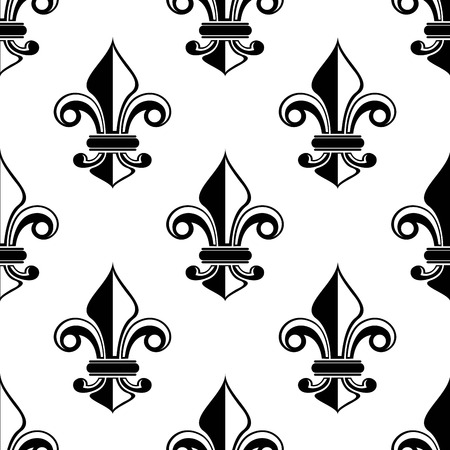 Classical French black and white fleur-de-lis seamless pattern with a repeat motif in square format suitable for wallpaper or fabric design Vector