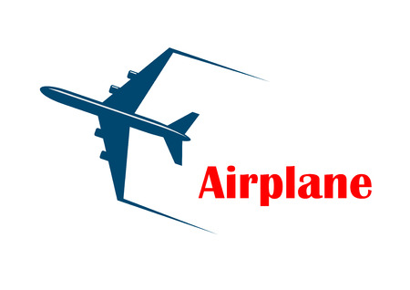 jetliner: Airplane icon with a speeding jetliner or passenger plane with motion trails and the word - Airplane - in red below, silhouette on white