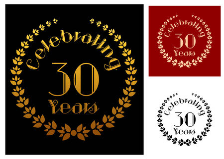 30 years: Ornate foliate wreathes in three variations isolated on background for anniversary and heraldry design. These icons depicts the completion of 30 years or 3 decades